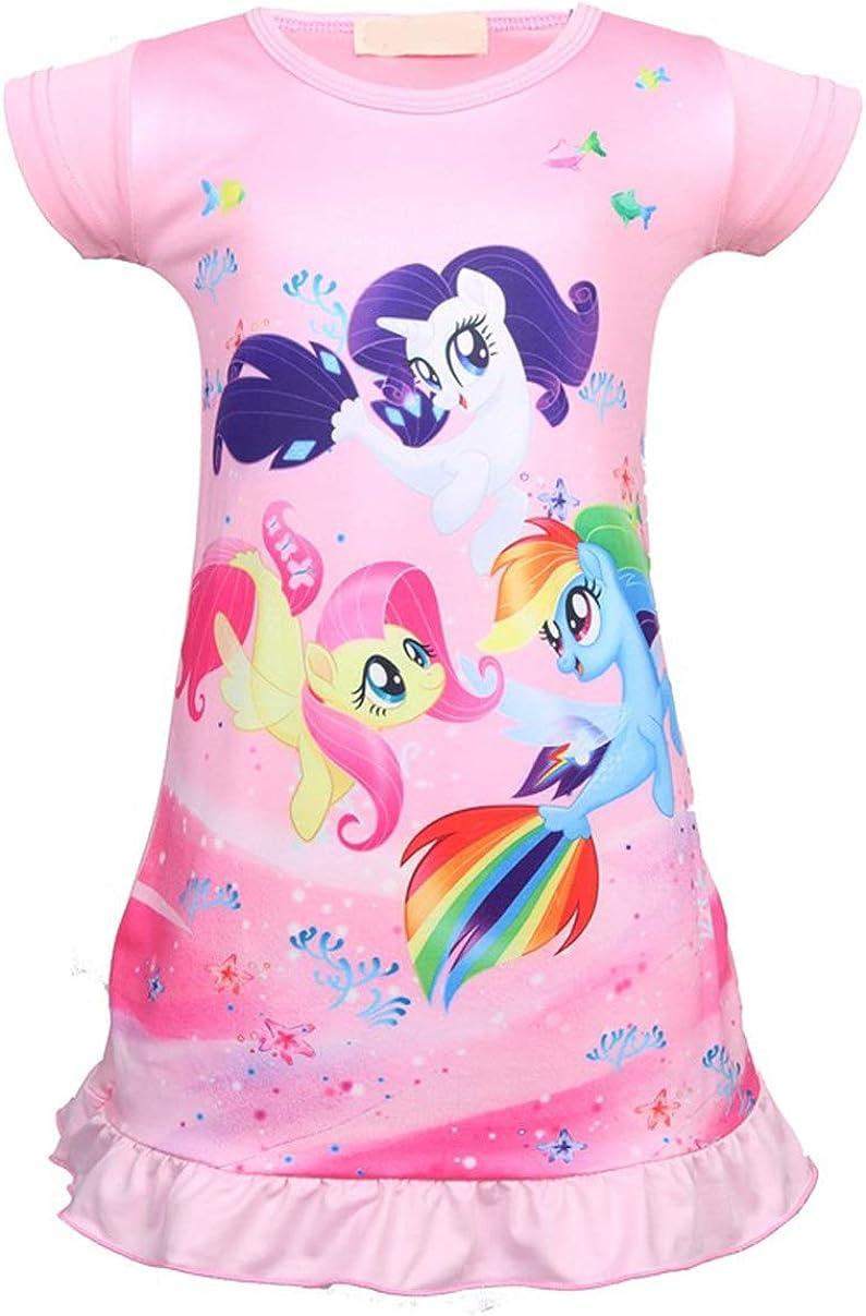 Unicorn Girls Nightgowns Sleepwear Pajamas (Pony Pink, 4-5Y)