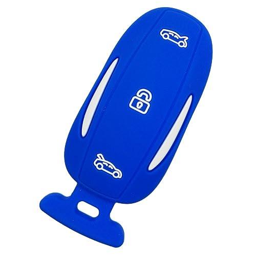 Coolbestda Rubber 3 Buttons Smart Key Fob Remote Cover Case Keyless Holder for Tesla Model X P90D 75D 100D Blue