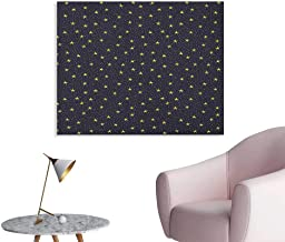 Anzhutwelve Night Sky Wall Picture Decoration Hand Drawn Style Yellow Stars and White Dots Celestial Midnight Print Poster Paper Black White Yellow W32 xL24