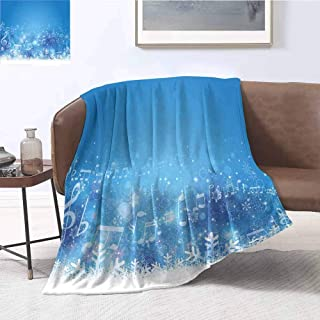 Mademai Winter Plush Blanket Music Inspired Winter Imagery Notes and Snowflakes Illustration Seasonal Image Print Household Blanket 60