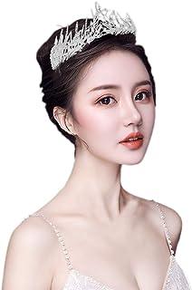 Santfe Bridal Wedding Prom Rhinestone Crystal Crown Hairband Headband Tiara Hair Jewelry for Womens Girls (Silver(Leaf))