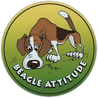 PotteLove Round Dog Breed Car Magnet - Beagle Attitude - Magnetic