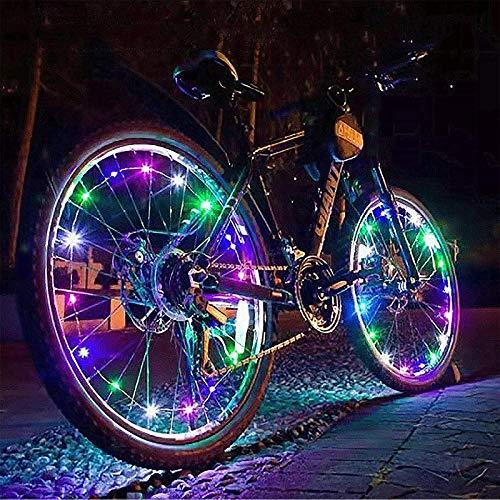 GYAM Luces LED para Ruedas de Bicicleta, Paquete de 2 neumáticos Luces de radios para Bicicletas, Impermeables Luces Decorativas para Ruedas de Bicicleta de Seguridad,Colored