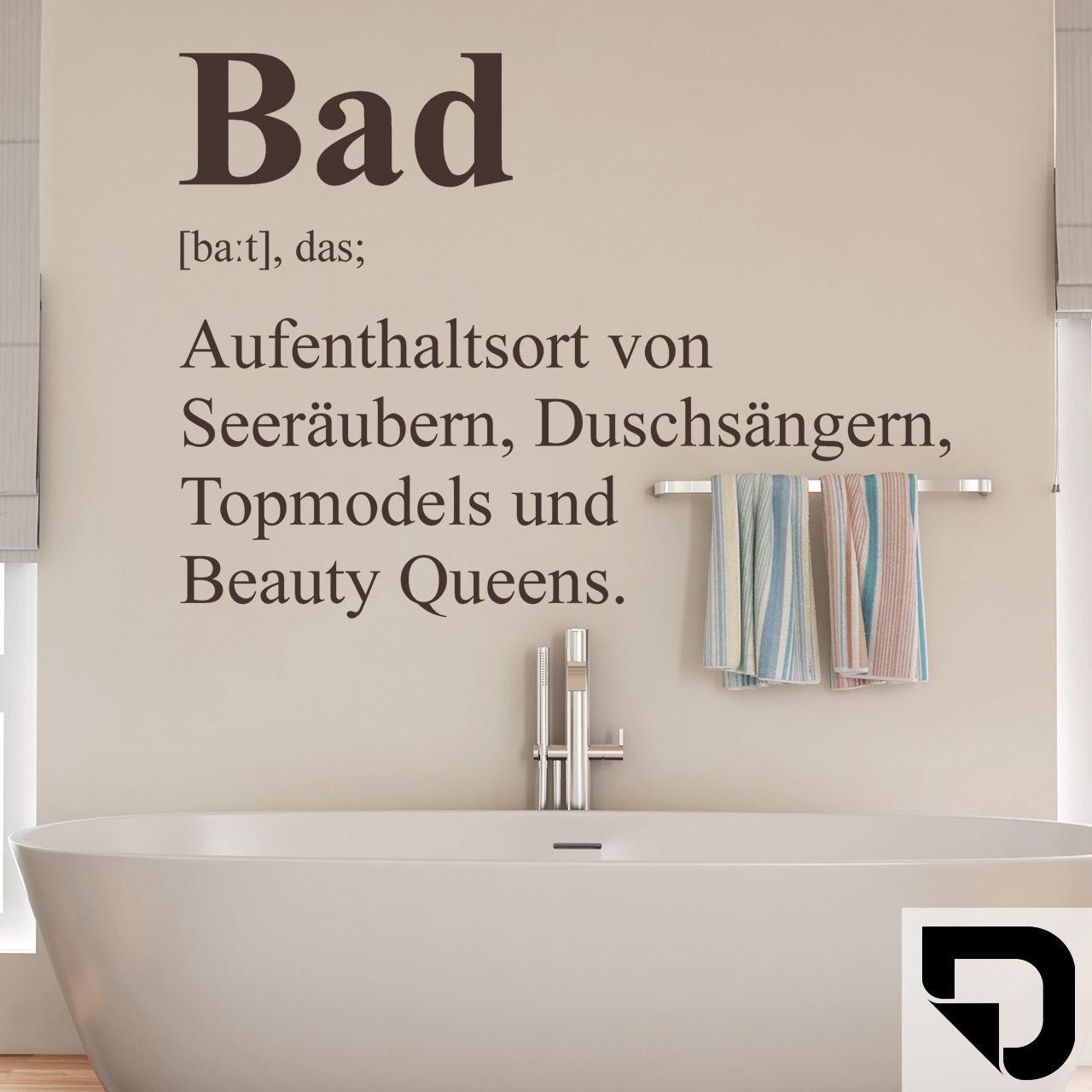 DESIGNSCAPE® Wandtattoo Bad Definition 12 - Badezimmer Wandtattoo Beauty  Queen Seeräuber Topmodel 1212 x 12 cm (Breite x Höhe) schwarz DW8031239-S-F12