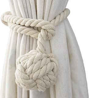 Shinywear 2 Pieces Retro Handmade Curtain Ropes Holdbacks Rural Knot Ball Cotton Cord Drapery Tiebacks Tie Band (White)