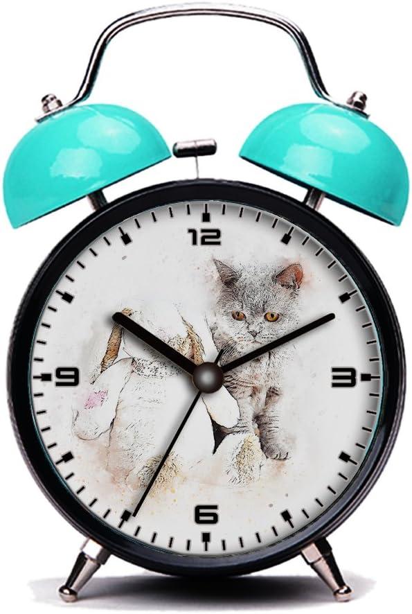 Blue Alarm Clock Retro Portable Discount mail order Beside Clocks Twin w Max 59% OFF Bell