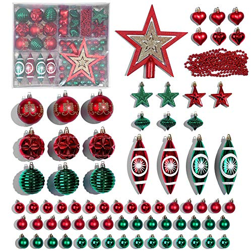 Christmas Tree Ornament, 74ct Assorted Traditional Christmas Ball Ornaments Red Green Christmas Tree Decoration Set Shatterproof Xmas Seasonal Decorations Hanging Christmas Ornaments