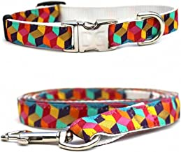 """product image for Diva-Dog 'Block Party Dark' Custom Small Dog 5/8"""" Wide Dog Collar with Plain or Engraved Buckle, Matching Leash Available - Teacup, XS/S"""