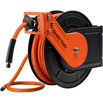 Giraffe Retractable Air-Hose-Reel with 3/8 in. x 50 Ft Hybrid Air Hose,Auto Rewind Pneumatic Hose Reel,300PSI Heavy Duty Steel-Reel