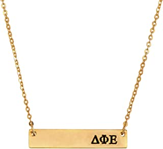 Delta Phi Epsilon 24K Gold Plated Horizontal Bar Necklace Greek Sorority Letter Adjustable Chain