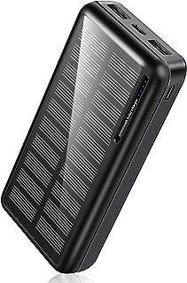 モバイルバッテリー ソーラー 30000mAh 大容量 Soluser ソーラーチャージャー 急速充電 残量表示 持ち運び 2つUSB出力ポート 2つ入力ポート MicroUSB Type-C iPhone iPad Android Ninte...