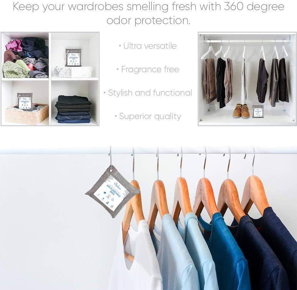 Room Deodorizer Moisture Absorber Blue Natural Air Purifier Home Odor Eliminator for Pets Car 220g x4 Chelsea Home Goods Bamboo Charcoal Air Purifying Bag Activated Charcoal