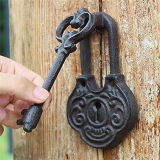 Asas Puerta decorativa de hierro Aldaba de estilo antiguo En forma de llave Fundido Rústico Vintage Puerta de hierro crudo...