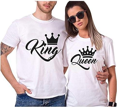 Rey Reina Camisas Par T Regalo De Camiseta Los Hombres Y Las Mujeres King Queen con Su Corona Tops 2 Pack