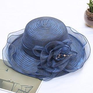 CDDKJDS قبعات الزفاف للنساء حافة كبيرة شبكة مظلة قابلة للطي زهرة اكسسوارات الزفاف أغطية الرأس (اللون: كحلي، الحجم: حجم : ح...