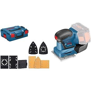 Bosch Professional 18V System Akku Schwingschleifer GSS 18V-10 (Schwingkreis-Ø: 1,6 mm, 3 Grundplatten mit unterschiedlichen Formaten, ohne Akkus und Ladegerät, in L-BOXX)