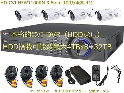 CVI HCVR5416L-V2とHFW1100SN 3.6mm 100万画素 バレットカメラ4台のセット 多チャンネルの同期再生と動作検知の同期再生 監視カメラ 駐車場の防犯カメラ HDDなし 安心の1年保証