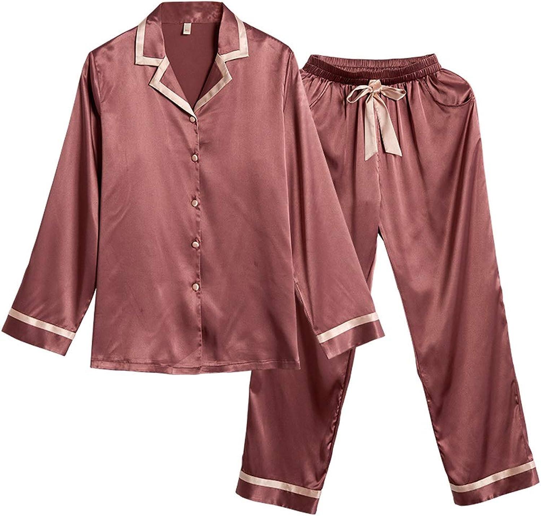 Home Service Women Simple European Style Ice Silk Spring Pajamas Women New Thin Retro Simple Pajamas Long Home Service Suit