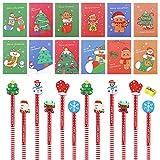 Lápices Navideños, muñeco de nieve de Papá Noel,12 lápices...