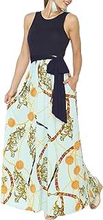 e6baf3c59d DUNEA Women s Maxi Dress Floral Printed Autumn 3 4 Sleeve Casual Tunic Long  Maxi Dress