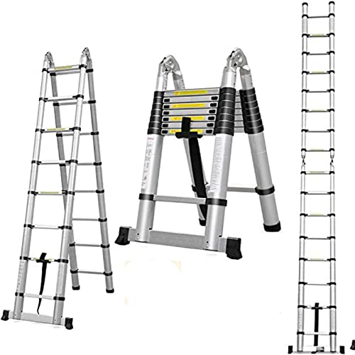 discount Aluminum popular Telescoping Extension online Ladder 330 Pound Capacity 16.5 Feet 16 Folding Steps A-Frame 2.5m+2.5m outlet sale