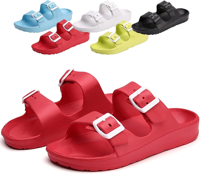 Men's and Women's Double Buckle Sandals Comfortable EVA Sliding Adjustable Lightweight Flat Outdoor Slippers