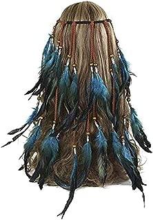 Women Lady Bohemian Tassels Headband Hair Hoop Feather Headband Indian Handmade Headband Hippie Folk Style Feather Head Band Hair Hoop Headpiece Headwear (B#)