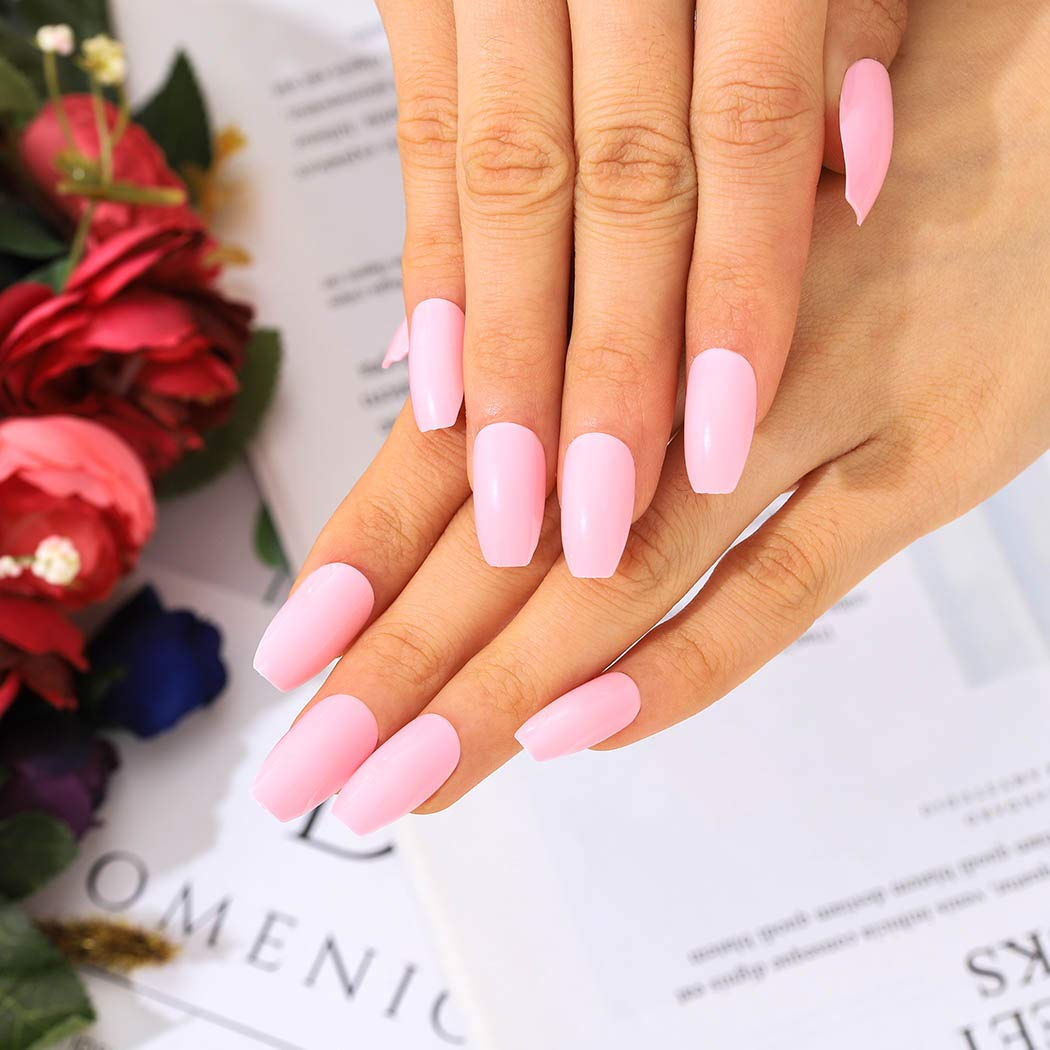 Urieo Glossy Pink Press on Nails False Ballerina In a popularity ...