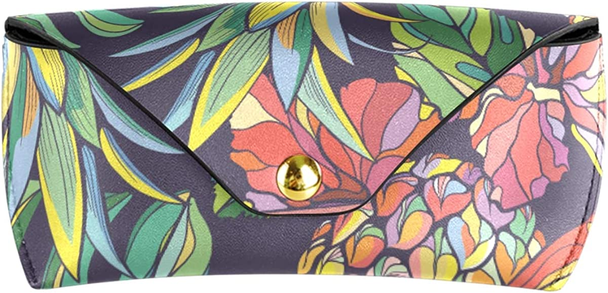 PU Leather Pineapple Tropical Leaves Portable Office Goggles Bag Sunglasses Case Eyeglasses Pouch Multiuse