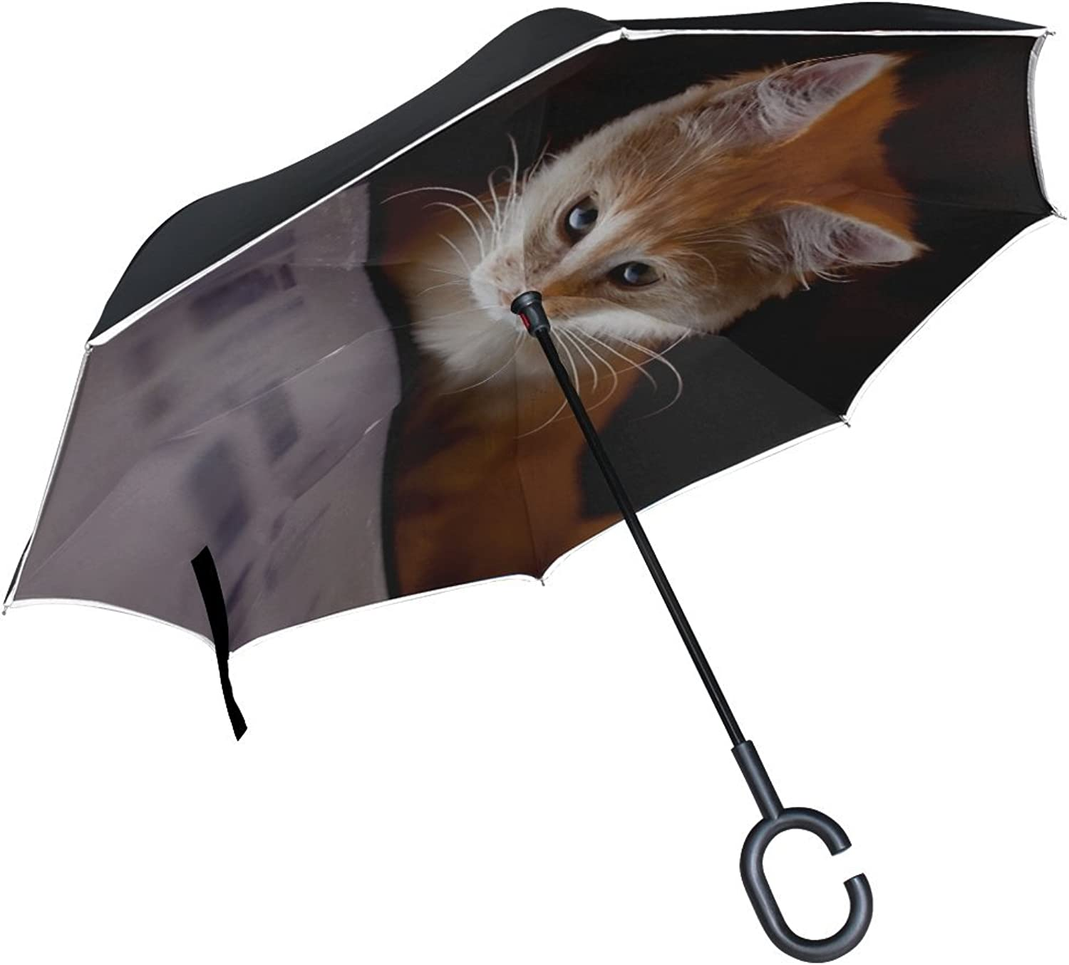 Rh Studio Ingreened Umbrella Cat Computer Curiosity Large Double Layer Outdoor Rain Sun Car Reversible Umbrella