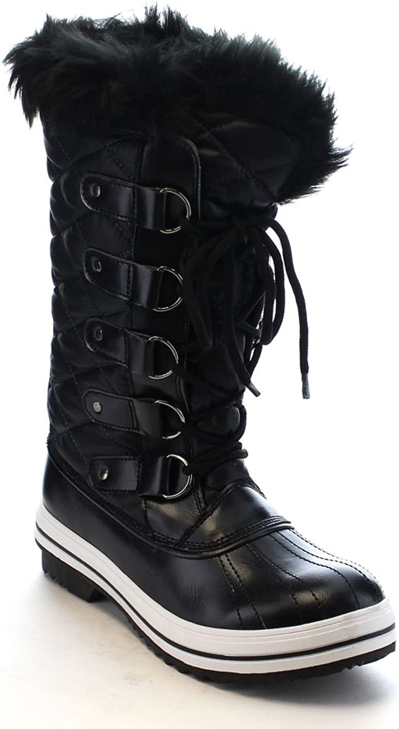 Nature Breeze Frost-03 Women's Lace Up Waterproof Quilted Mid Calf Weather Snow Boots