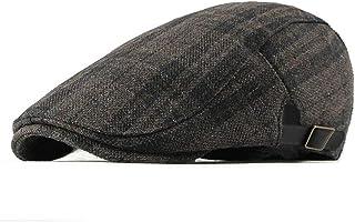 RICHTOER Men s Fashion Newsboy Hats Golf Peaked Cap Cotton Plaid Flat  Driving 8fb6f19b0694
