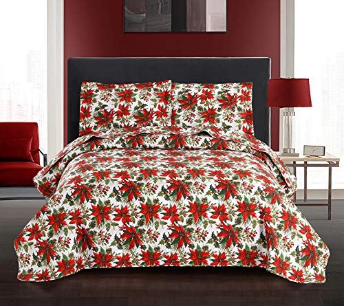 Yc Christmas Bedspreads Festive Poinsettia Floral Quilt Set King Reversible Red Flowers Blanket Throw Lightweight New Year Coverlets for All Season -1 Quilt +2 Pillow Shams