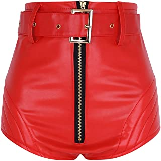 MSemis Women's Shiny Metallic PU Leather Zipper Front Booty Shorts Party Rave Clubwear