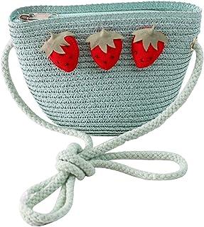 Stroh Kleine Tasche Nette Umhängetasche Mode Geldbörse Tasche Für Kinder Erdbeere Mode Mädchen Handgewebte Umhängetasche S...