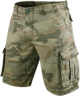 Muscle Alive Men Vintage Cargo Shorts Relaxed Fit Sports Camping Hiking Camouflage Shorts Cotton