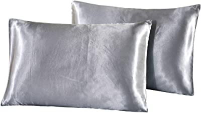 N/ A Tensure Satin Pillowcase for Hair and Skin, Envelope Closure, Set of 4 Standard/Queen Size(20x30 inches) Cooling Pillow Covers, Silver Grey