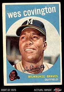 1959 Topps # 290 Wes Covington Milwaukee Braves (Baseball Card) Dean's Cards 3 - VG Braves
