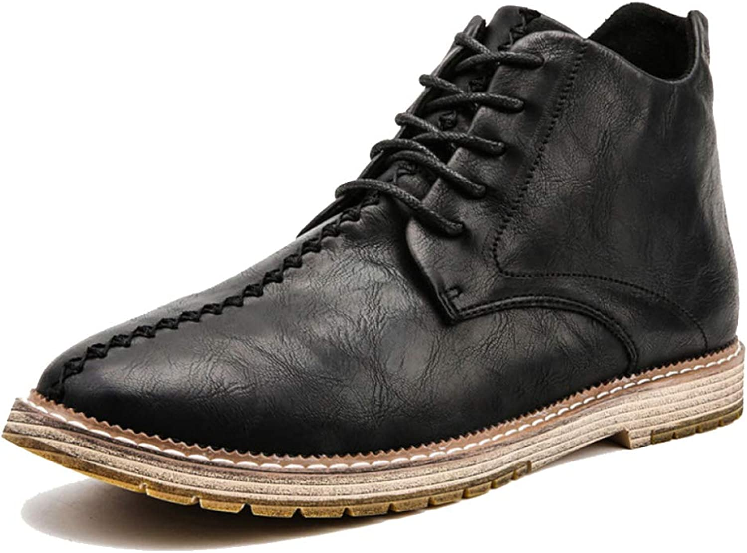 Men's Black Lace-up Dress High-top shoes, Pointed Heads Trend Large Size Martin Boots British Men's shoes