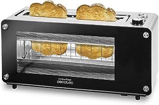 Cecotec Grill-pain VisionToast. Fenêtres en verre, Fente, 7 Niveaux pour Toaster, 3 Fonctions , 7 Positions, Capacité pour...