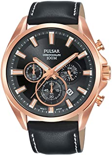 Pulsar Chronograph Sports Casual Dress Watch with Leather Strap with Genuine Leather Strap PT3A28X1