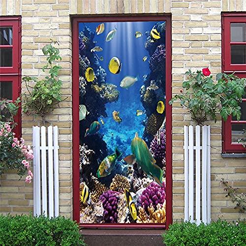 DFKJ Autoadesivo del paesaggio Vinile in Pelle e Carta da parati adesiva Rimovibile impermeabile Decorazione Della Stanza Poster murale in Legno Vai adesivo A19 77x200cm