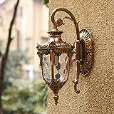 Lámpara de Pared para Exteriores Antigua Vintage con Pantalla de Vidrio Transparente - Aplique de Pared de Estilo Victoriano para jardín, balcón, porche1xE27 MAX 60W 110-240V IP44 [Clase energética A