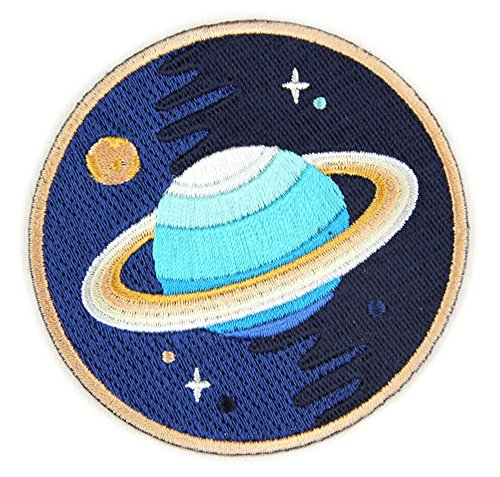 Embroidered Sew or Iron-on Backing Patches - Space Explorer Time Traveler Camp Galaxy Treehouse Road Trip Planet Bear Bike Camera (Galaxy Planet)