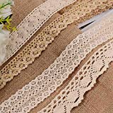 VU100 24 Yards Crochet Cotton Lace Trim Ribbon, 4 Style Assorted Vintage Sewing Lace Fabric Trim, Handmade Supply for DIY Craft, Gift Wrapping, Floral Design, Wedding Decor (6 Yard Each, Beige/Gold)