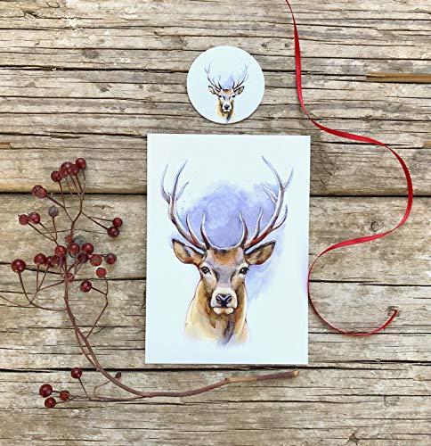 Hirsch Grußkarte, Weihnachtskarte Set aus 2 Teilen, Karte und Sticker, Postkarte A6 Papeterie Set mit Hirschkopf Motiv