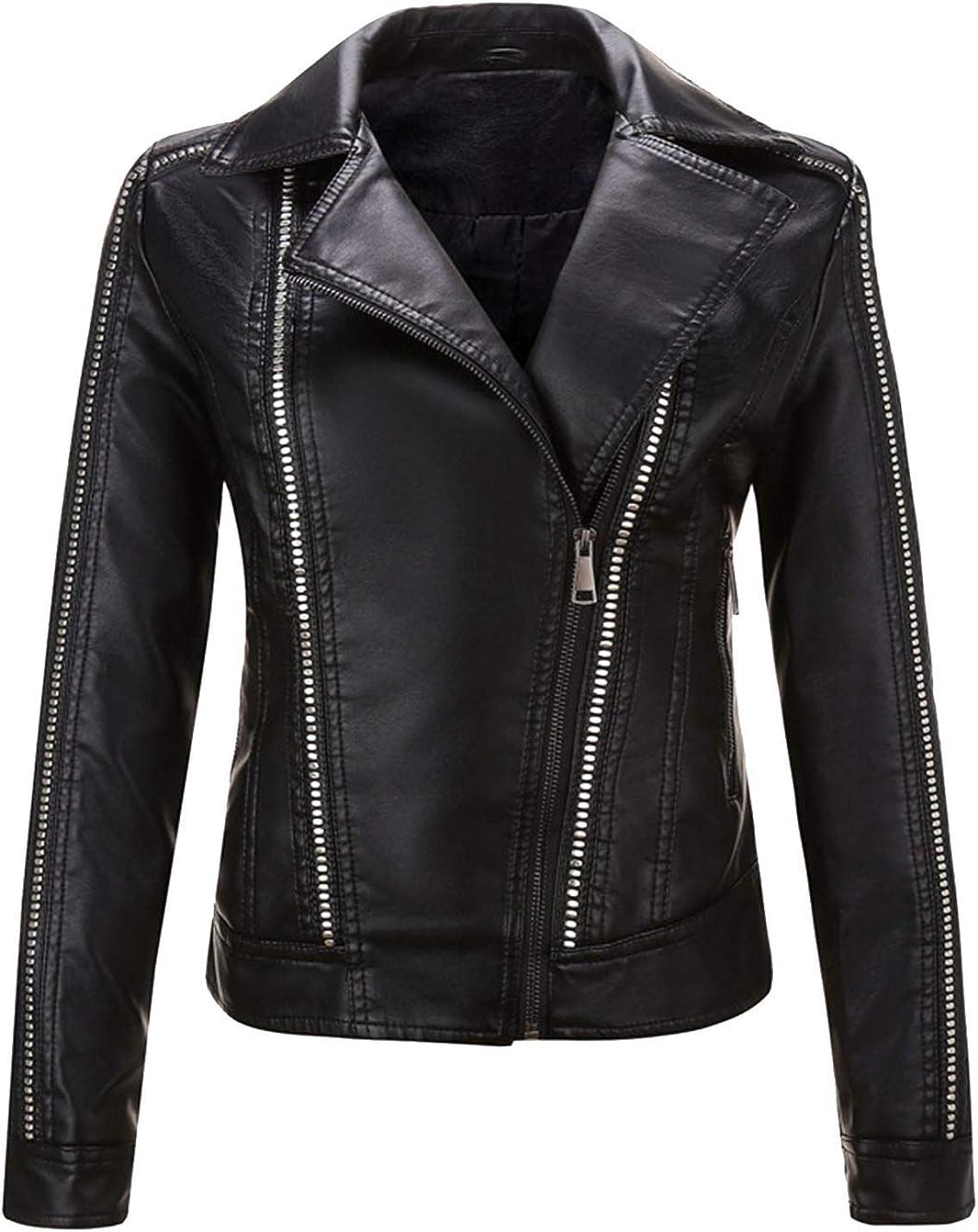 HaoMay Women's Slim Fit Zipper Rivet PU Faux Leather Short Biker Jacket