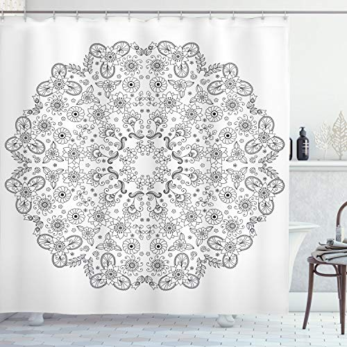 Ambesonne Mandala Shower Curtain, Oriental Inspired Motif with Flower Petal and Branches Lace Print, Cloth Fabric Bathroom Decor Set with Hooks, 75' Long, Grey Black
