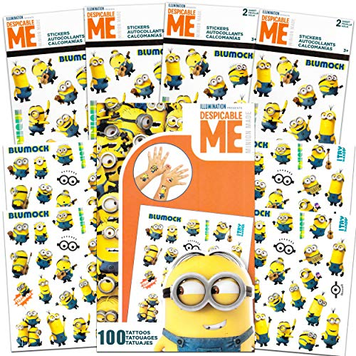 Despicable Me Minions Sticker and Tattoos Party Favors Super Set Bundle ~ 200 Minions Temporary Tattoos and Stickers (Minions Party Supplies)