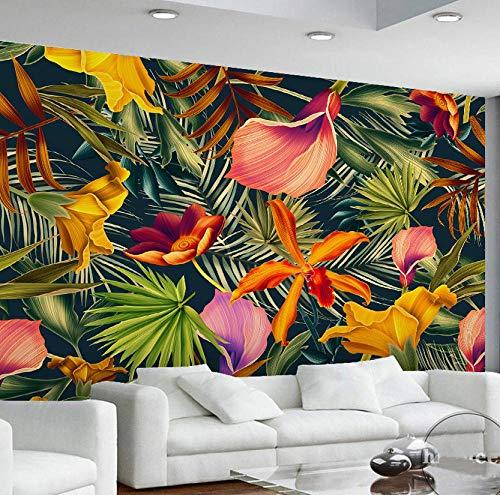 3D behang muurschildering foto luxe niet-geweven muur-muur muurschildering tropische planten banaan bladeren achtergrond geschilderd woonkamer slaapkamer grote muurschildering 350 * 245 350 * 245